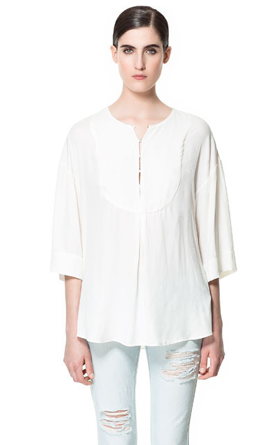 Flowing Kaftan - neckline: round neck; pattern: plain; length: below the bottom; style: kaftan; predominant colour: white; occasions: casual, holiday; fibres: polyester/polyamide - 100%; fit: loose; bust detail: contrast pattern/fabric/detail at bust; sleeve length: 3/4 length; sleeve style: standard; texture group: cotton feel fabrics; pattern type: fabric; season: s/s 2013