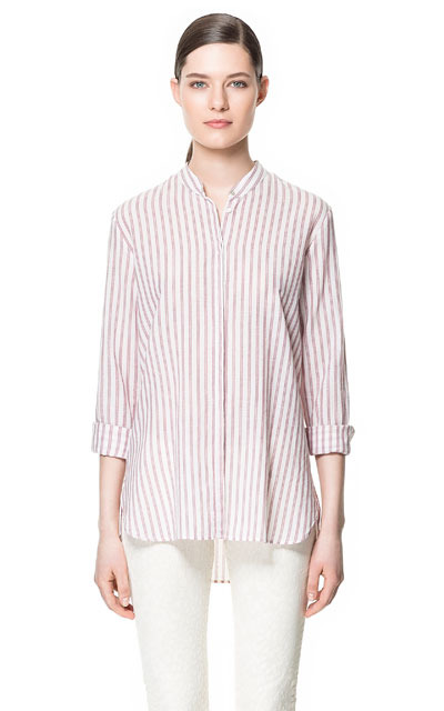 Mao Collar Shirt - pattern: vertical stripes; style: shirt; predominant colour: white; occasions: casual, work, holiday; length: standard; neckline: collarstand & mandarin with v-neck; fibres: cotton - 100%; fit: loose; back detail: longer hem at back than at front; sleeve length: 3/4 length; sleeve style: standard; pattern type: fabric; pattern size: standard; texture group: jersey - stretchy/drapey; season: s/s 2013