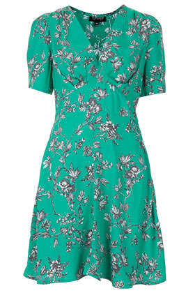Branch Floral Tea Dress - style: tea dress; length: mid thigh; neckline: low v-neck; fit: fitted at waist; waist detail: fitted waist; predominant colour: emerald green; occasions: casual, holiday; fibres: viscose/rayon - 100%; sleeve length: short sleeve; sleeve style: standard; texture group: crepes; pattern type: fabric; pattern size: standard; pattern: florals; season: s/s 2013