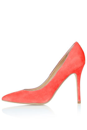 Gwenda Pointed Courts - predominant colour: coral; occasions: evening, occasion, creative work; material: suede; heel height: high; heel: stiletto; toe: pointed toe; style: courts; finish: fluorescent; pattern: plain; season: s/s 2016