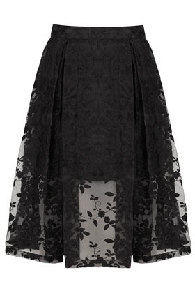 Floral Embroidered Calf Skirt - style: full/prom skirt; fit: loose/voluminous; waist: high rise; predominant colour: black; occasions: evening, work, occasion; length: on the knee; fibres: polyester/polyamide - 100%; hip detail: subtle/flattering hip detail; texture group: lace; pattern type: fabric; pattern: patterned/print; embellishment: embroidered; season: s/s 2013; pattern size: standard (bottom); wardrobe: highlight; embellishment location: all over, pattern
