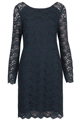 Lace Loop Back Dress - style: shift; neckline: round neck; waist detail: fitted waist; predominant colour: navy; occasions: evening, occasion; length: just above the knee; fit: body skimming; fibres: nylon - mix; back detail: keyhole/peephole detail at back; sleeve length: long sleeve; sleeve style: standard; texture group: lace; pattern type: fabric; pattern size: standard; pattern: patterned/print; season: s/s 2013