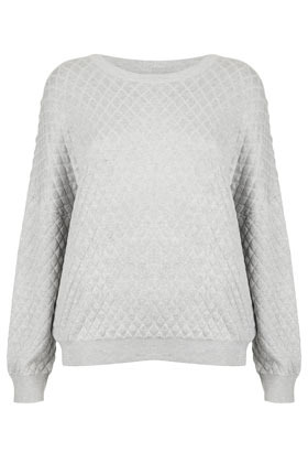 Tall Viscose Quilted Sweat - neckline: round neck; pattern: plain; style: standard; predominant colour: light grey; occasions: casual; length: standard; fibres: viscose/rayon - 100%; fit: loose; sleeve length: long sleeve; sleeve style: standard; pattern type: fabric; texture group: other - light to midweight; embellishment: quilted; season: s/s 2013; wardrobe: highlight; embellishment location: all over