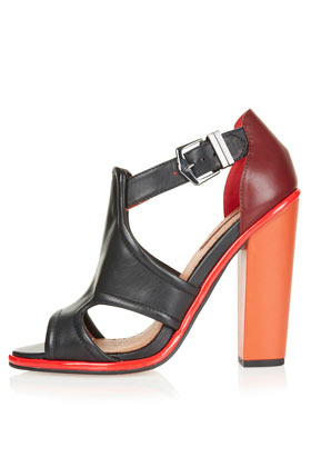 Gorgeous Cut Out Heels - predominant colour: black; occasions: casual, creative work; material: leather; heel height: high; embellishment: buckles; ankle detail: ankle strap; heel: block; toe: open toe/peeptoe; style: strappy; finish: plain; pattern: colourblock; season: s/s 2013