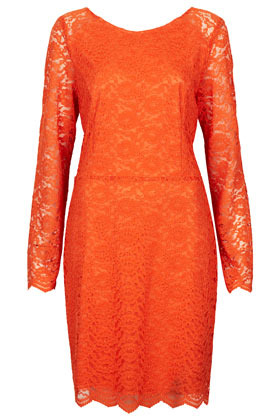 Lace Loop Back Dress - style: shift; neckline: round neck; fit: fitted at waist; waist detail: fitted waist; back detail: back revealing; bust detail: subtle bust detail; predominant colour: bright orange; occasions: evening, occasion, holiday; length: just above the knee; fibres: nylon - mix; sleeve length: long sleeve; sleeve style: standard; texture group: lace; trends: glamorous day shifts, fluorescent; pattern type: fabric; pattern size: standard; pattern: patterned/print; season: s/s 2013