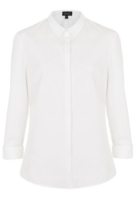Formal Clean Structured Shirt - neckline: shirt collar/peter pan/zip with opening; pattern: plain; style: shirt; predominant colour: white; occasions: casual, work; length: standard; fibres: cotton - 100%; fit: tailored/fitted; sleeve length: 3/4 length; sleeve style: standard; texture group: cotton feel fabrics; pattern type: fabric; season: s/s 2013