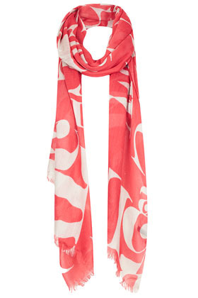 Abstract Letter Scarf - predominant colour: coral; occasions: casual, evening, work, holiday; type of pattern: large; style: regular; size: standard; material: fabric; embellishment: fringing; trends: statement prints; pattern: patterned/print; season: s/s 2013