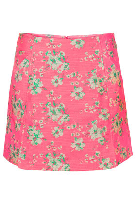 Pink Jacquard Mini Skirt - length: mini; fit: body skimming; waist: mid/regular rise; predominant colour: pink; occasions: casual, holiday; style: mini skirt; fibres: cotton - mix; trends: high impact florals; pattern type: fabric; pattern: florals; texture group: brocade/jacquard; season: s/s 2013; pattern size: light/subtle (bottom)