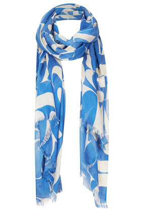 Abstract Letter Scarf - predominant colour: diva blue; occasions: casual, evening, work, holiday; type of pattern: large; style: regular; size: standard; material: fabric; embellishment: fringing; trends: statement prints; pattern: patterned/print; season: s/s 2013