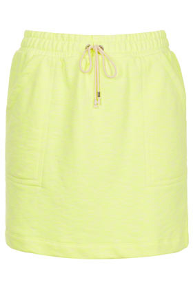 Fluro Drawcord Skirt - length: below the knee; pattern: plain; fit: body skimming; waist detail: belted waist/tie at waist/drawstring; waist: mid/regular rise; predominant colour: primrose yellow; occasions: casual, evening, holiday; style: mini skirt; fibres: cotton - mix; trends: sporty redux, fluorescent; pattern type: fabric; texture group: jersey - stretchy/drapey; season: s/s 2013; pattern size: standard (bottom)
