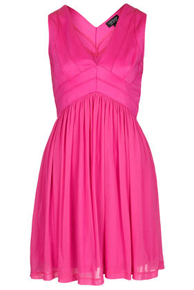 Bandage V Neck Skater Dress - length: mid thigh; neckline: low v-neck; pattern: plain; sleeve style: sleeveless; bust detail: subtle bust detail; predominant colour: hot pink; occasions: evening, occasion, holiday; fit: fitted at waist & bust; style: fit & flare; fibres: polyester/polyamide - stretch; hip detail: subtle/flattering hip detail; sleeve length: sleeveless; texture group: sheer fabrics/chiffon/organza etc.; pattern type: fabric; season: s/s 2013; wardrobe: highlight