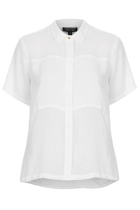 Short Sleeve Panel Shirt - neckline: shirt collar/peter pan/zip with opening; pattern: plain; style: shirt; predominant colour: white; occasions: casual, evening, work; length: standard; fibres: polyester/polyamide - 100%; fit: body skimming; back detail: longer hem at back than at front; sleeve length: short sleeve; sleeve style: standard; texture group: sheer fabrics/chiffon/organza etc.; pattern type: fabric; season: s/s 2013