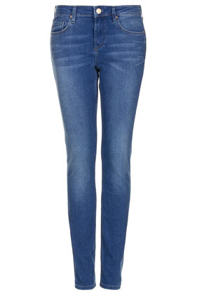 Moto Blue Baxter Skinny Jeans - style: skinny leg; length: standard; pattern: plain; pocket detail: traditional 5 pocket; waist: mid/regular rise; predominant colour: denim; occasions: casual; fibres: cotton - stretch; jeans detail: whiskering, shading down centre of thigh; texture group: denim; pattern type: fabric; season: s/s 2013; pattern size: standard (bottom)