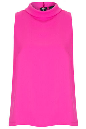 Sleeveless Roll Neck Shell Top - pattern: plain; sleeve style: sleeveless; neckline: roll neck; predominant colour: hot pink; occasions: casual, evening, work; length: standard; style: top; fibres: polyester/polyamide - 100%; fit: body skimming; back detail: embellishment at back; sleeve length: sleeveless; texture group: sheer fabrics/chiffon/organza etc.; trends: fluorescent; pattern type: fabric; season: s/s 2013