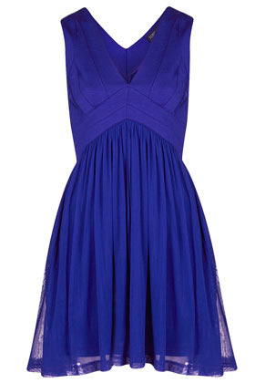 Bandage V Neck Skater Dress - neckline: v-neck; pattern: plain; sleeve style: sleeveless; bust detail: subtle bust detail; predominant colour: royal blue; occasions: evening, occasion; length: just above the knee; fit: fitted at waist & bust; style: fit & flare; fibres: polyester/polyamide - mix; hip detail: subtle/flattering hip detail; sleeve length: sleeveless; pattern type: fabric; texture group: jersey - stretchy/drapey; season: s/s 2013; wardrobe: event