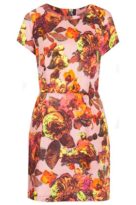 Floral Printed Shift Dress - style: shift; length: mid thigh; neckline: round neck; fit: fitted at waist; waist detail: fitted waist; back detail: low cut/open back; occasions: casual, evening, occasion, holiday; fibres: polyester/polyamide - 100%; hip detail: sculpting darts/pleats/seams at hip; predominant colour: multicoloured; sleeve length: short sleeve; sleeve style: standard; texture group: cotton feel fabrics; trends: high impact florals; pattern type: fabric; pattern size: big & busy; pattern: florals; season: s/s 2013; multicoloured: multicoloured