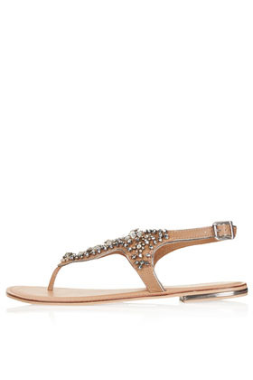 Fliss Embellished Sandals - predominant colour: tan; occasions: casual, holiday; material: leather; heel height: flat; embellishment: crystals/glass; ankle detail: ankle strap; heel: standard; toe: toe thongs; style: standard; finish: plain; pattern: plain; season: s/s 2013; wardrobe: highlight