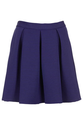 Colbalt Ribbed Pleat Skirt - length: mini; pattern: plain; fit: loose/voluminous; style: pleated; waist: mid/regular rise; predominant colour: navy; occasions: evening, work; fibres: polyester/polyamide - stretch; hip detail: structured pleats at hip; waist detail: narrow waistband; pattern type: fabric; texture group: other - light to midweight; season: s/s 2013; pattern size: standard (bottom)
