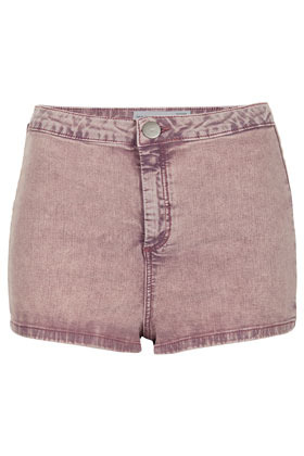 Moto Purple Acid Hotpant - pattern: plain; pocket detail: large back pockets; waist: mid/regular rise; predominant colour: purple; occasions: casual, holiday; fibres: cotton - mix; texture group: denim; pattern type: fabric; season: s/s 2013; pattern size: standard (bottom); style: denim; length: short shorts; fit: skinny/tight leg