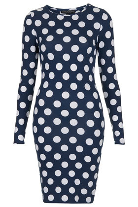 Tall Polka Dot Bodycon Dress - neckline: round neck; fit: tight; style: bodycon; waist detail: fitted waist; pattern: polka dot; hip detail: draws attention to hips; predominant colour: navy; occasions: casual, evening, creative work; length: just above the knee; fibres: cotton - stretch; sleeve length: long sleeve; sleeve style: standard; texture group: jersey - clingy; pattern type: fabric; pattern size: standard; season: s/s 2013
