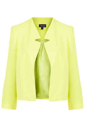 Crepe Notch Neck Jacket - pattern: plain; style: single breasted blazer; collar: standard lapel/rever collar; predominant colour: lime; occasions: casual, evening, work, occasion; length: standard; fit: straight cut (boxy); fibres: polyester/polyamide - 100%; sleeve length: 3/4 length; sleeve style: standard; texture group: cotton feel fabrics; trends: fluorescent; collar break: low/open; pattern type: fabric; pattern size: standard; season: s/s 2013