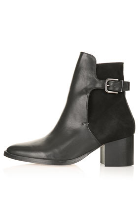Paca Premium Leather Boots - predominant colour: black; occasions: casual, creative work; material: leather; heel height: mid; embellishment: buckles; heel: block; toe: round toe; boot length: ankle boot; style: standard; finish: plain; pattern: plain; season: s/s 2013