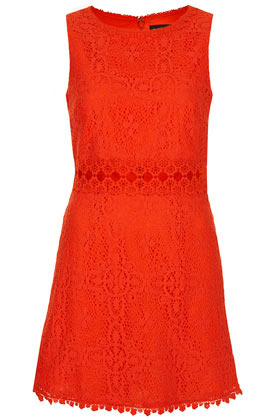 60s Lace Panel Shift Dress - style: shift; length: mid thigh; neckline: round neck; sleeve style: sleeveless; predominant colour: true red; occasions: evening, occasion, holiday; fit: soft a-line; fibres: cotton - mix; sleeve length: sleeveless; texture group: lace; pattern type: fabric; pattern size: standard; pattern: patterned/print; embellishment: embroidered; season: s/s 2013; wardrobe: highlight; embellishment location: waist