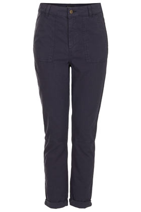 Washed Navy Chino Trousers - pattern: plain; waist: mid/regular rise; predominant colour: navy; occasions: casual, work; length: ankle length; style: chino; fibres: cotton - 100%; jeans & bottoms detail: turn ups; texture group: cotton feel fabrics; fit: slim leg; pattern type: fabric; season: s/s 2013; pattern size: standard (bottom)