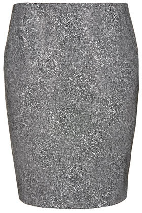 Printed Leather Pencil Skirt Boutique - style: pencil; fit: tailored/fitted; waist: mid/regular rise; predominant colour: silver; occasions: casual, evening, work; length: just above the knee; fibres: leather - 100%; texture group: leather; trends: metallics; pattern type: fabric; pattern: patterned/print; season: s/s 2013; pattern size: standard (bottom)
