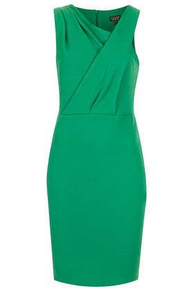 Sleeveless Texture Bodycon Dress - style: shift; length: mid thigh; neckline: v-neck; pattern: plain; sleeve style: sleeveless; predominant colour: emerald green; occasions: evening, occasion; fit: body skimming; fibres: polyester/polyamide - stretch; shoulder detail: flat/draping pleats/ruching/gathering at shoulder; sleeve length: sleeveless; texture group: jersey - clingy; pattern type: fabric; season: s/s 2013