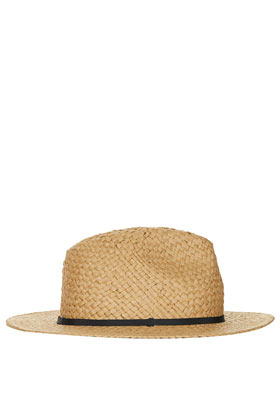 Straw Shorter Brim Fedora - predominant colour: camel; occasions: casual, holiday; type of pattern: light; embellishment: ribbon; style: fedora; size: standard; material: macrame/raffia/straw; pattern: plain; season: s/s 2013