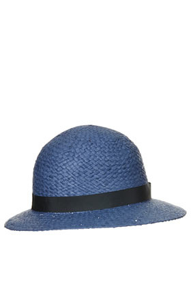 Straw Wide Brim Cloche Hat - predominant colour: denim; occasions: casual, holiday; type of pattern: light; embellishment: ribbon; style: cloche; size: standard; material: macrame/raffia/straw; pattern: plain; season: s/s 2013