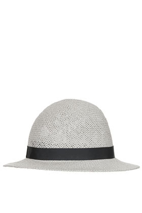 Straw Wide Brim Cloche Hat - predominant colour: light grey; occasions: casual, holiday; type of pattern: light; embellishment: ribbon; style: cloche; size: standard; material: macrame/raffia/straw; pattern: plain; season: s/s 2013
