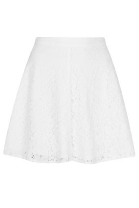 White Lace Skater Skirt - length: mini; fit: loose/voluminous; waist: mid/regular rise; predominant colour: white; occasions: casual, evening, holiday; style: a-line; fibres: cotton - mix; waist detail: feature waist detail; texture group: lace; pattern type: fabric; pattern: patterned/print; season: s/s 2013; pattern size: light/subtle (bottom)