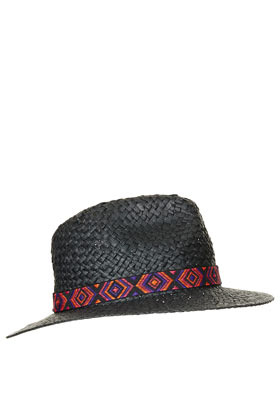 Straw Aztec Band Fedora Hat - predominant colour: black; occasions: casual, holiday; type of pattern: light; embellishment: ribbon; style: fedora; size: standard; material: macrame/raffia/straw; pattern: plain; season: s/s 2013