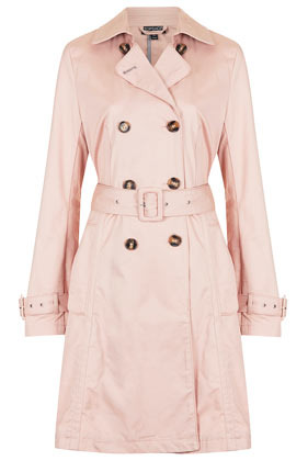 Unlined Seamed Trench Coat - pattern: plain; style: trench coat; length: mid thigh; predominant colour: blush; occasions: casual, evening, work; fit: tailored/fitted; fibres: cotton - 100%; collar: shirt collar/peter pan/zip with opening; waist detail: belted waist/tie at waist/drawstring; sleeve length: long sleeve; sleeve style: standard; texture group: cotton feel fabrics; collar break: high/illusion of break when open; pattern type: fabric; pattern size: standard; season: s/s 2013