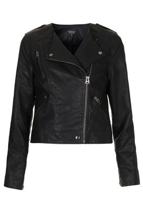 Collarless Biker Jacket - pattern: plain; style: biker; collar: asymmetric biker; fit: slim fit; predominant colour: black; occasions: casual, evening, work; length: standard; fibres: polyester/polyamide - 100%; sleeve length: long sleeve; sleeve style: standard; texture group: leather; collar break: high; pattern type: fabric; pattern size: standard; season: s/s 2013
