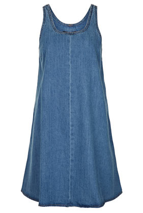 Tall Denim Trapeze Dress - style: trapeze; fit: loose; pattern: plain; sleeve style: sleeveless; predominant colour: denim; occasions: casual, holiday; length: just above the knee; neckline: scoop; fibres: cotton - 100%; sleeve length: sleeveless; texture group: denim; pattern type: fabric; season: s/s 2013