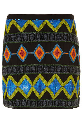 Tall Premium Embellished Skirt - length: mid thigh; waist: mid/regular rise; occasions: evening, holiday; style: mini skirt; fibres: polyester/polyamide - 100%; waist detail: narrow waistband; predominant colour: multicoloured; fit: straight cut; pattern type: fabric; pattern: patterned/print; texture group: jersey - stretchy/drapey; embellishment: beading; season: s/s 2013; pattern size: big & busy (bottom); multicoloured: multicoloured