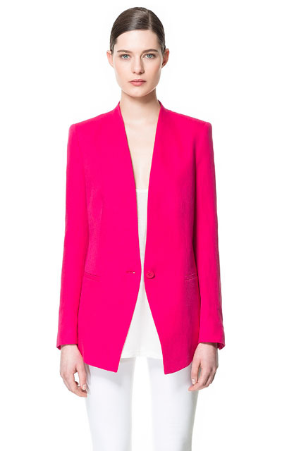 Linen Blazer - pattern: plain; style: single breasted blazer; length: below the bottom; collar: standard lapel/rever collar; predominant colour: hot pink; occasions: casual, evening, work, occasion; fit: tailored/fitted; fibres: linen - mix; waist detail: fitted waist; sleeve length: long sleeve; sleeve style: standard; texture group: cotton feel fabrics; trends: tuxedo, fluorescent; collar break: low/open; pattern type: fabric; pattern size: standard; season: s/s 2013