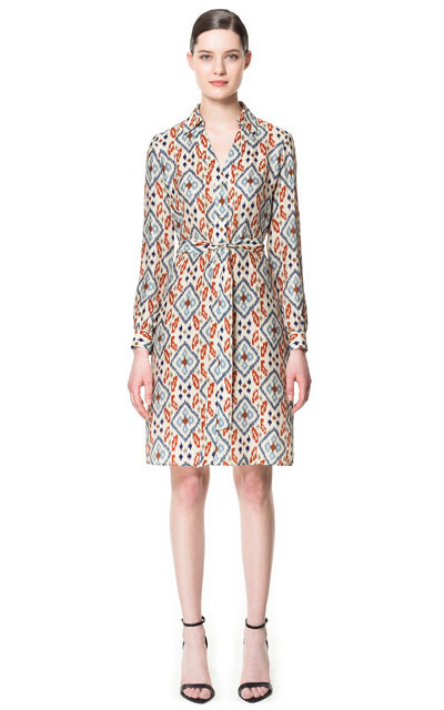 Printed Shirt Style Dress - style: shirt; neckline: shirt collar/peter pan/zip with opening; bust detail: added detail/embellishment at bust; waist detail: belted waist/tie at waist/drawstring; occasions: casual, evening, work, occasion; length: just above the knee; fit: body skimming; fibres: silk - 100%; predominant colour: multicoloured; sleeve length: long sleeve; sleeve style: standard; texture group: sheer fabrics/chiffon/organza etc.; trends: modern geometrics; pattern type: fabric; pattern size: big & busy; pattern: patterned/print; season: s/s 2013; multicoloured: multicoloured