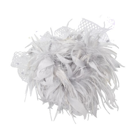 Bibi With Feathers - predominant colour: light grey; occasions: occasion; style: fascinator; size: standard; material: macrame/raffia/straw; pattern: plain; season: s/s 2013; embellishment: feather