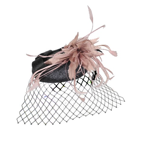 Bibi Node Feather - occasions: occasion; type of pattern: light; style: fascinator; size: standard; material: sinamay; pattern: two-tone; predominant colour: dusky pink; season: s/s 2013; embellishment: feather