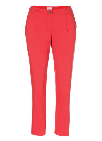 Cotton Trousers - pattern: plain; waist: mid/regular rise; predominant colour: coral; occasions: casual, evening, work, holiday; length: ankle length; fibres: cotton - stretch; texture group: cotton feel fabrics; fit: slim leg; pattern type: fabric; style: standard; season: s/s 2013; pattern size: standard (bottom)