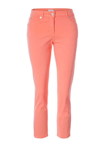 Skinny Jeans - style: skinny leg; length: standard; pattern: plain; pocket detail: traditional 5 pocket; waist: mid/regular rise; predominant colour: coral; occasions: casual; fibres: cotton - stretch; jeans detail: dark wash; texture group: denim; pattern type: fabric; season: s/s 2013