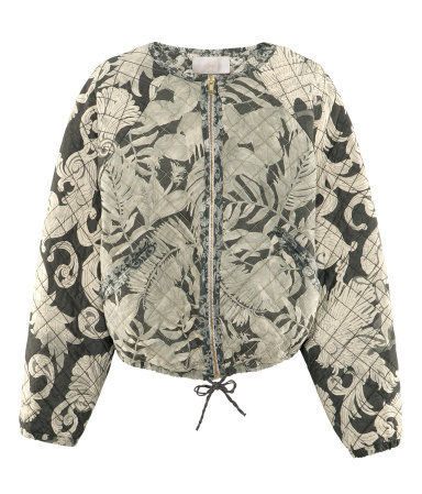 Quilted Bomber Jacket - collar: round collar/collarless; fit: loose; style: bomber; predominant colour: stone; occasions: casual; length: standard; fibres: polyester/polyamide - 100%; sleeve length: long sleeve; sleeve style: standard; collar break: high; pattern type: fabric; pattern: patterned/print; texture group: other - light to midweight; season: s/s 2013; pattern size: big & busy (top)