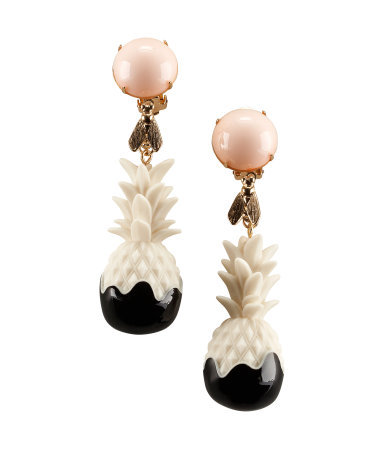 Clip Earrings - predominant colour: ivory/cream; occasions: evening, occasion, holiday; style: drop; length: mid; size: large/oversized; material: plastic/rubber; fastening: clip on; finish: plain; embellishment: jewels/stone; season: s/s 2013