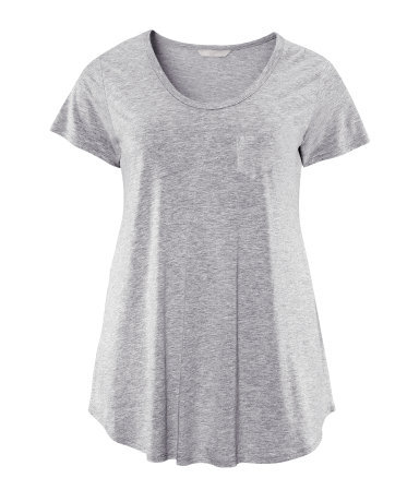 + Top - pattern: plain; style: t-shirt; predominant colour: light grey; occasions: casual; length: standard; neckline: scoop; fibres: cotton - mix; fit: loose; sleeve length: short sleeve; sleeve style: standard; texture group: jersey - stretchy/drapey; season: s/s 2013