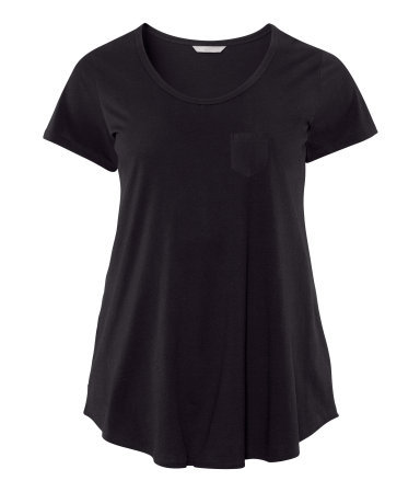 + Top - neckline: round neck; pattern: plain; style: t-shirt; predominant colour: black; occasions: casual; length: standard; fibres: cotton - mix; fit: loose; sleeve length: short sleeve; sleeve style: standard; texture group: jersey - stretchy/drapey; season: s/s 2013