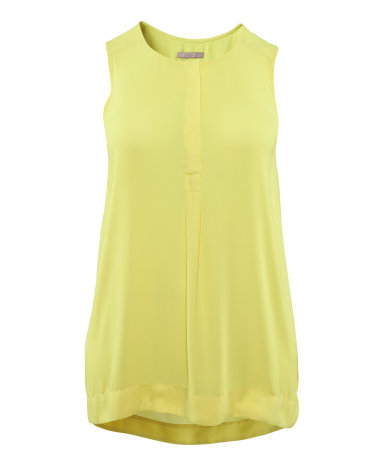 + Tunic - neckline: round neck; pattern: plain; sleeve style: sleeveless; length: below the bottom; style: tunic; predominant colour: yellow; occasions: casual; fibres: polyester/polyamide - 100%; fit: body skimming; sleeve length: sleeveless; texture group: sheer fabrics/chiffon/organza etc.; pattern type: fabric; season: s/s 2013